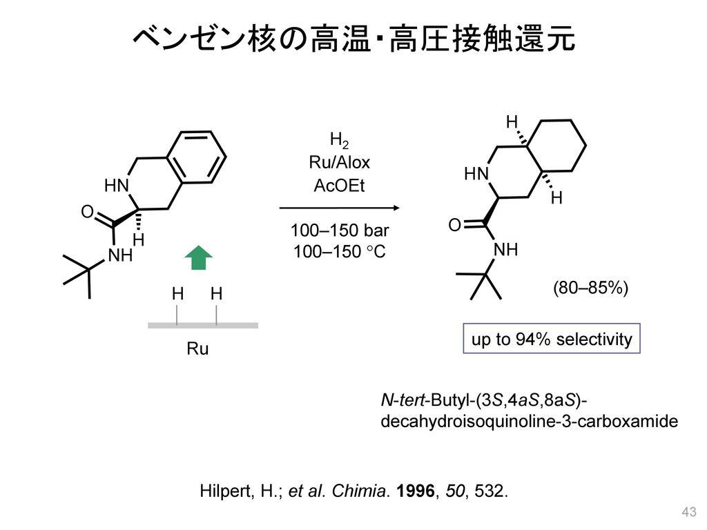 ベンゼン核の高温・高圧接触還元 H2 Ru/Alox AcOEt 100–150 bar 100–150 C (80–85%) H H