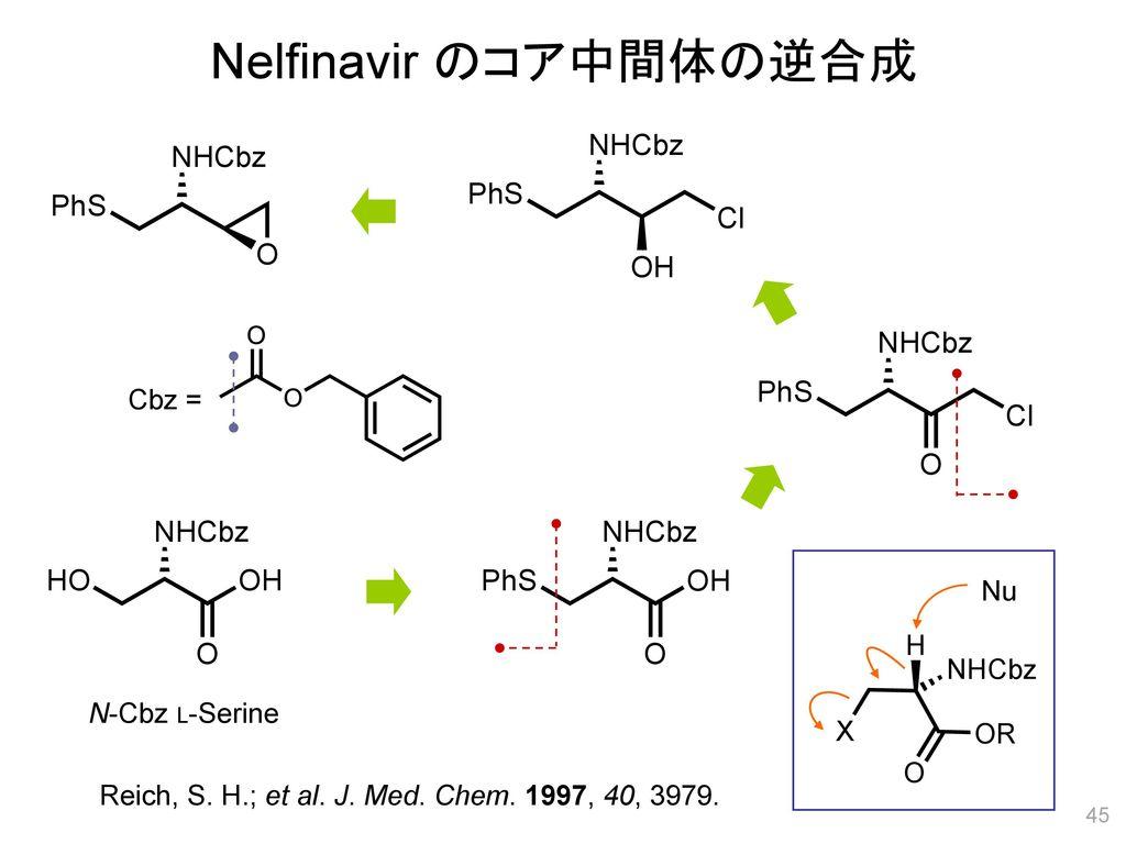 Nelfinavir のコア中間体の逆合成