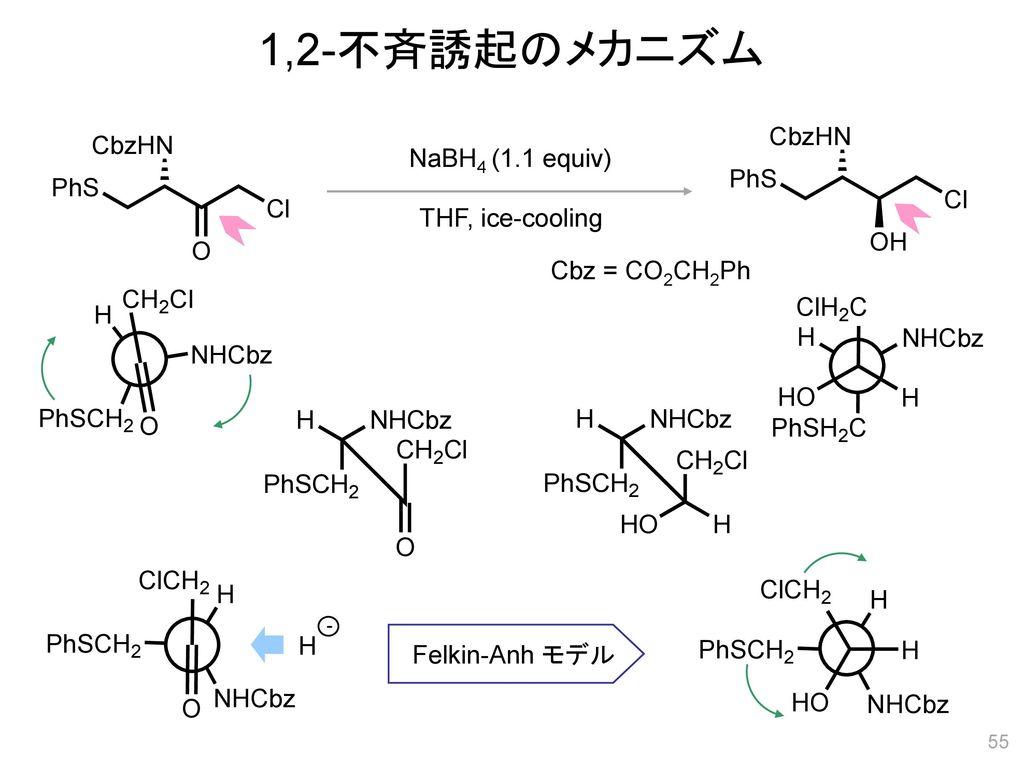 1,2-不斉誘起のメカニズム NaBH4 (1.1 equiv) THF, ice-cooling Cbz = CO2CH2Ph H