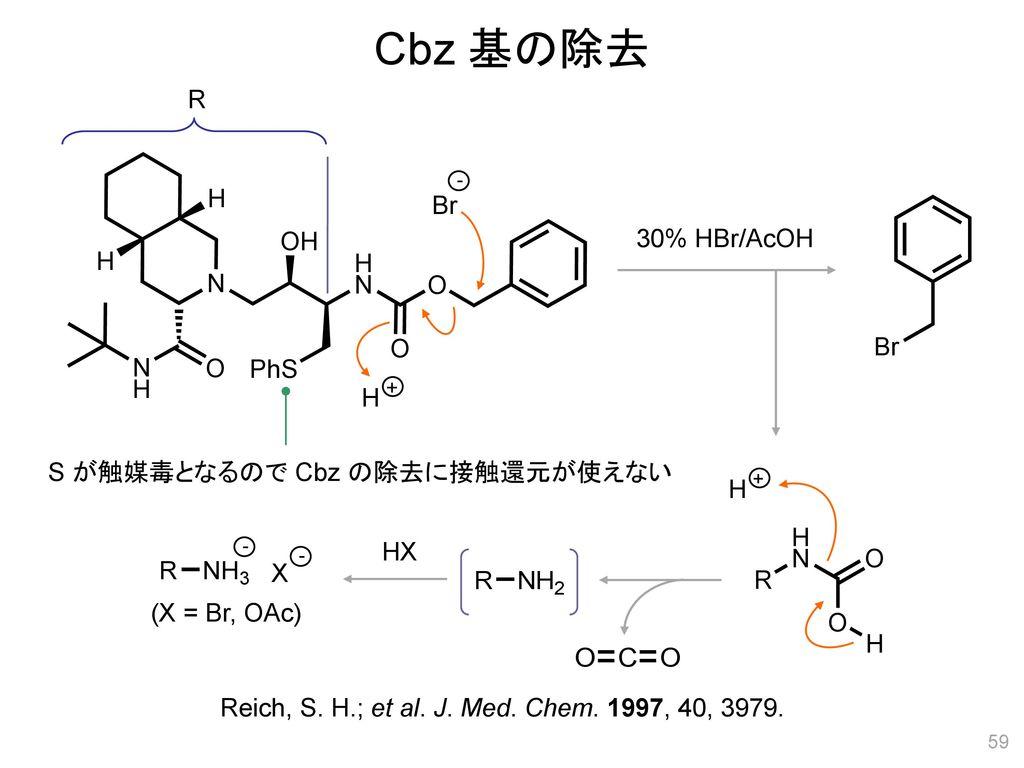 Cbz 基の除去 R Br 30% HBr/AcOH H S が触媒毒となるので Cbz の除去に接触還元が使えない H HX X