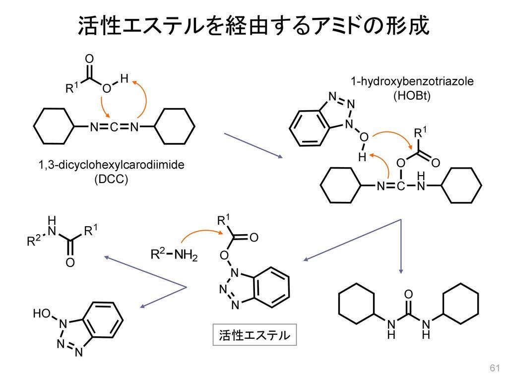 活性エステルを経由するアミドの形成 活性エステル 1-hydroxybenzotriazole (HOBt)
