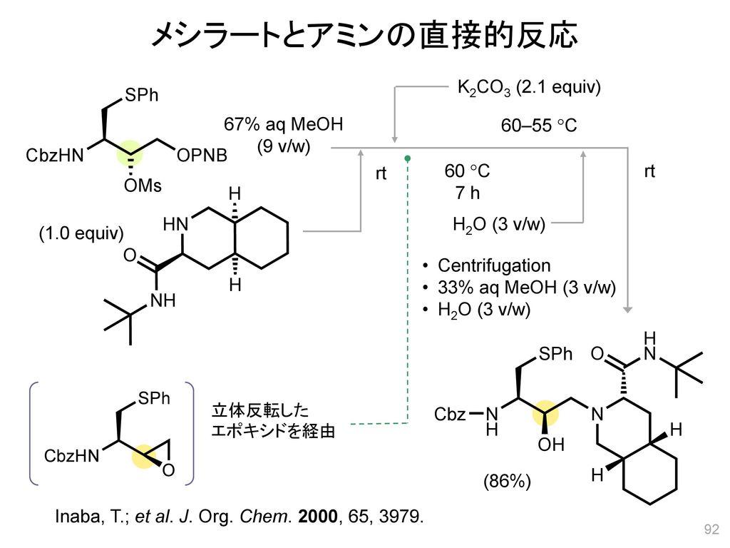 メシラートとアミンの直接的反応 K2CO3 (2.1 equiv) 67% aq MeOH (9 v/w) 60–55 C rt