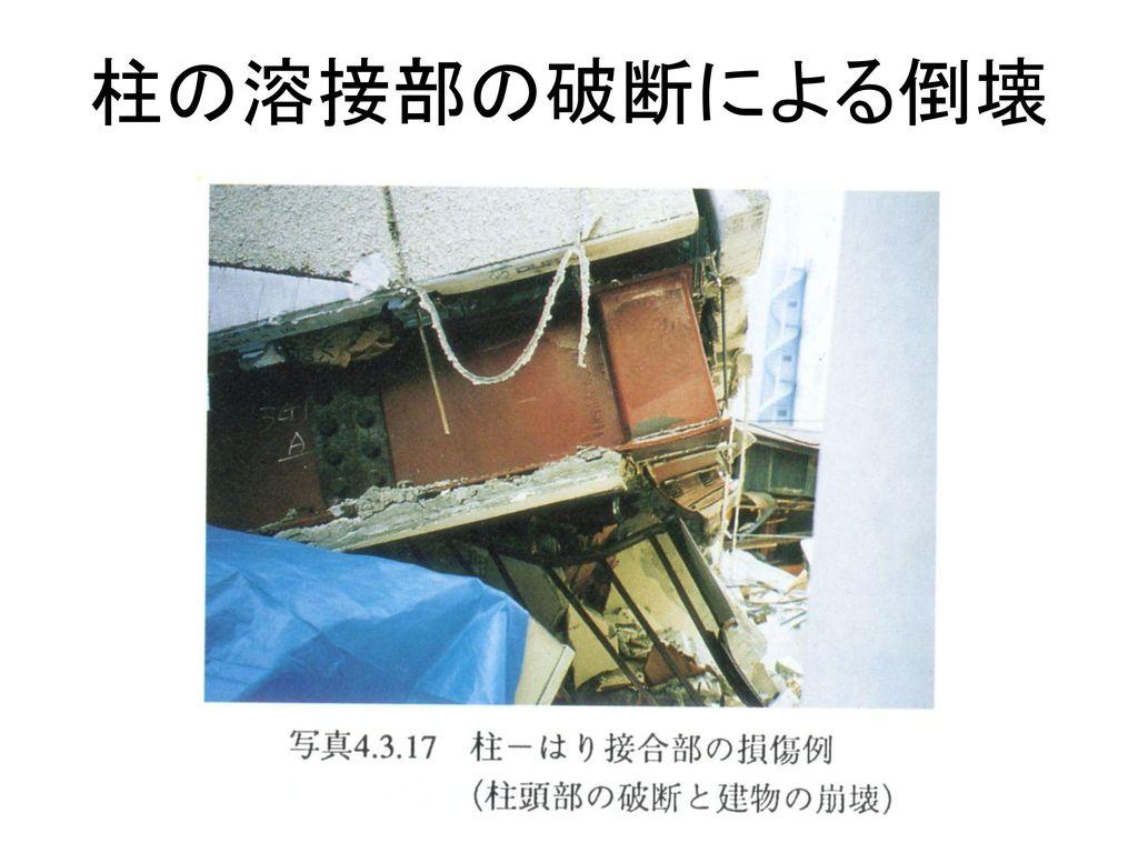 柱の溶接部の破断による倒壊