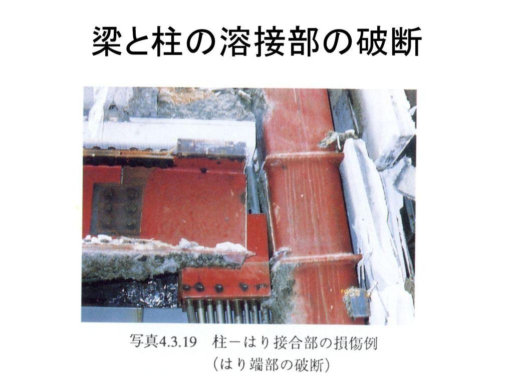 梁と柱の溶接部の破断
