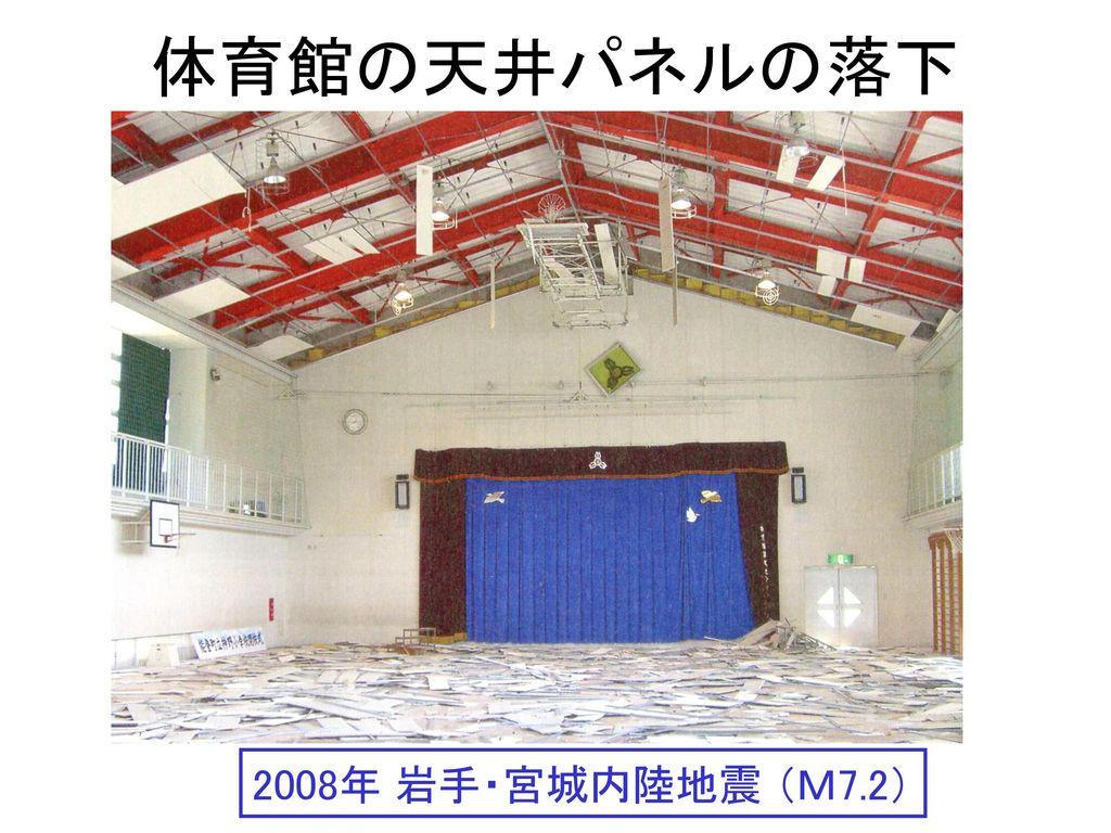 体育館の天井パネルの落下 2008年 岩手・宮城内陸地震 (M7.2)