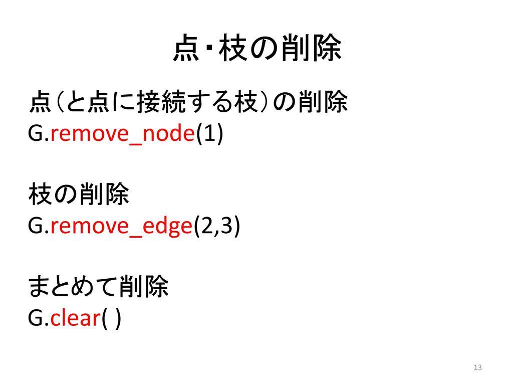 点・枝の削除 点(と点に接続する枝)の削除 G.remove_node(1) 枝の削除 G.remove_edge(2,3) まとめて削除