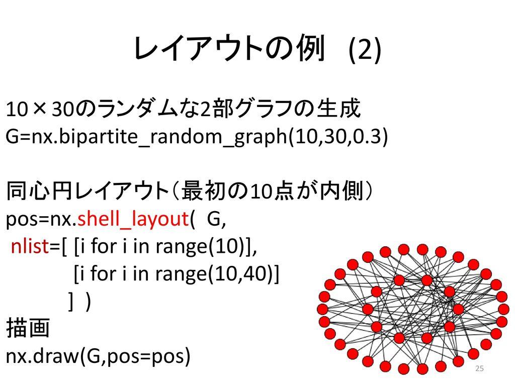 レイアウトの例 (2) 10×30のランダムな2部グラフの生成G=nx.bipartite_random_graph(10,30,0.3)