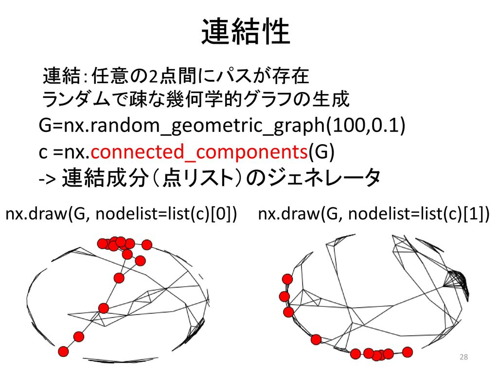連結性 G=nx.random_geometric_graph(100,0.1) c =nx.connected_components(G)