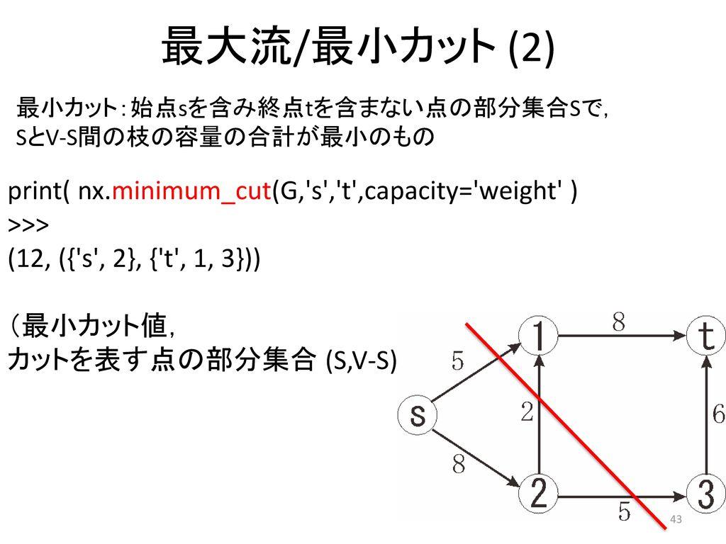 最大流/最小カット (2) print( nx.minimum_cut(G, s , t ,capacity= weight )
