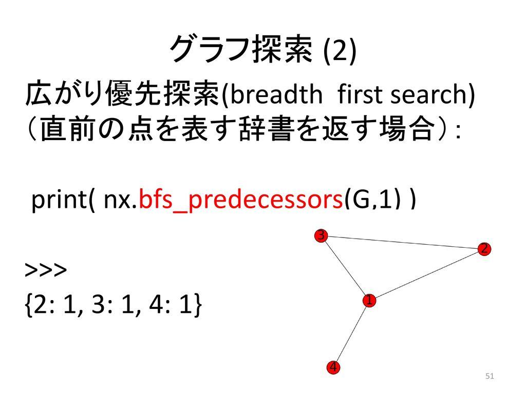 グラフ探索 (2) 広がり優先探索(breadth first search) (直前の点を表す辞書を返す場合):