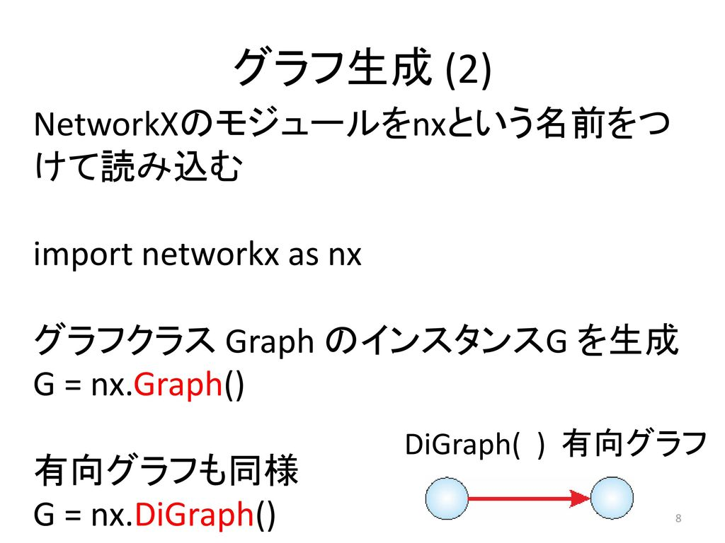 グラフ生成 (2) NetworkXのモジュールをnxという名前をつけて読み込む import networkx as nx