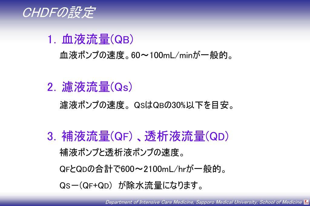 CHDFの設定 1.血液流量(QB) 2.濾液流量(Qs) 3.補液流量(QF) 、透析液流量(QD)