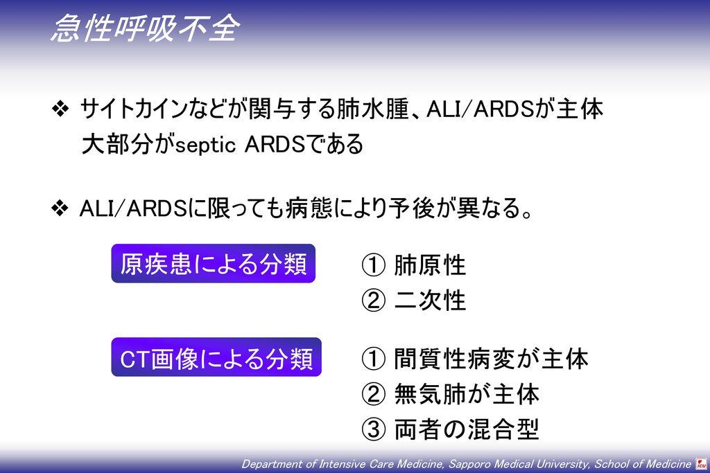 急性呼吸不全 サイトカインなどが関与する肺水腫、ALI/ARDSが主体 大部分がseptic ARDSである