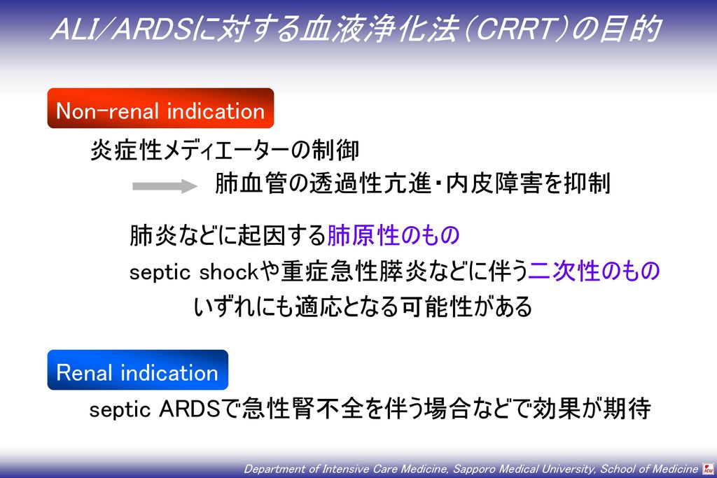 ALI/ARDSに対する血液浄化法(CRRT)の目的