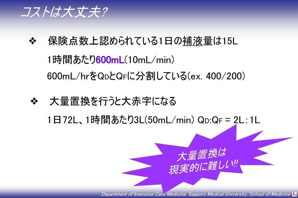 コストは大丈夫 保険点数上認められている1日の補液量は15L 1時間あたり600mL(10mL/min)