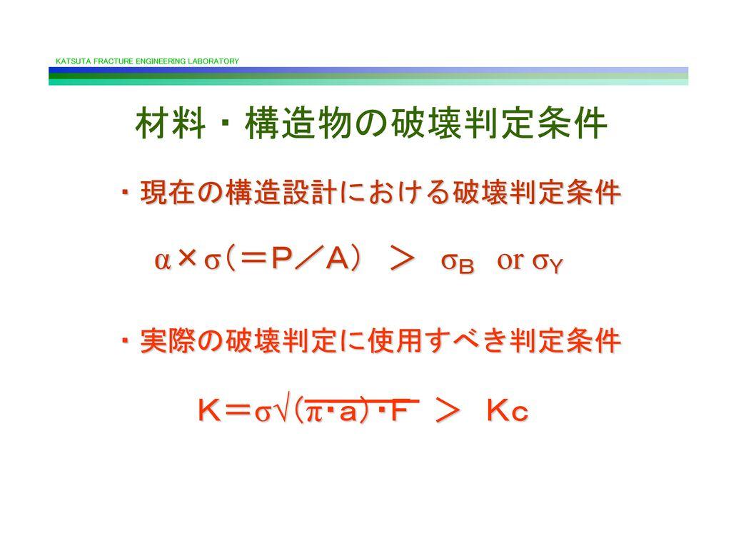 材料・構造物の破壊判定条件 α×σ(=P/A) > σB or σY K=σ√(π・a)・F > Kc ・現在の構造設計における破壊判定条件
