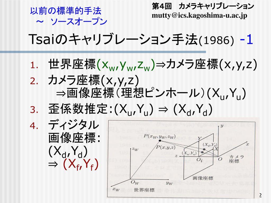 Tsaiのキャリブレーション手法(1986) -1 世界座標(xw,yw,zw)⇒カメラ座標(x,y,z)