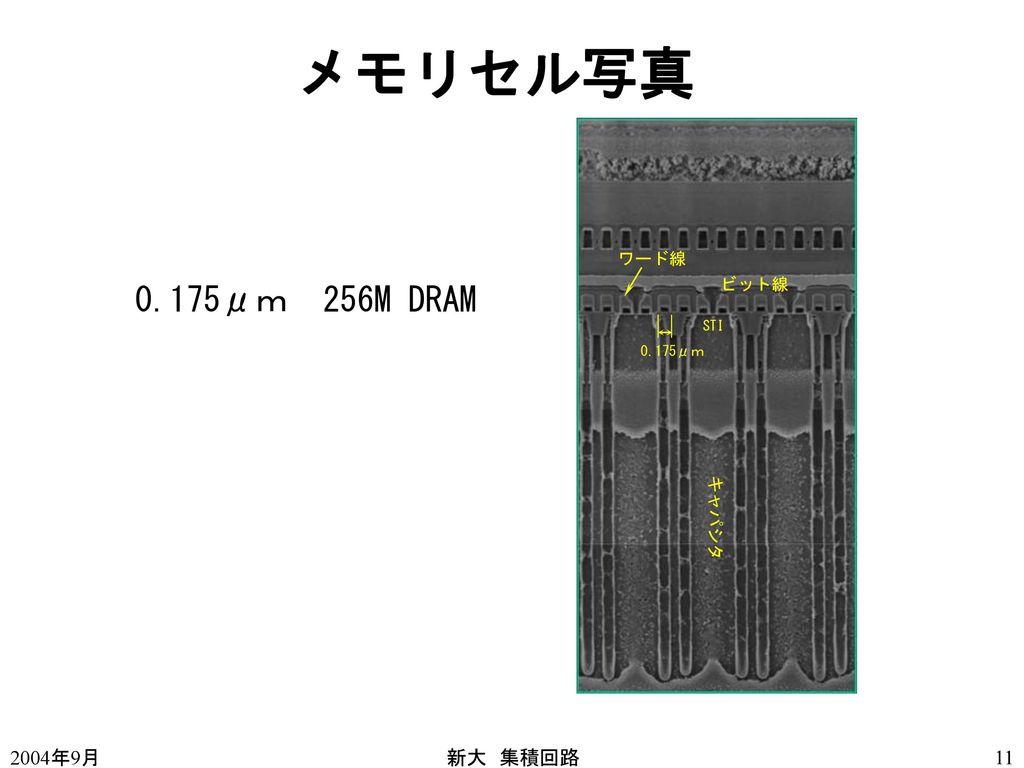 メモリセル写真 0.175μm 256M DRAM 0.175μ世代のトレンチ 深さ 7,8μ