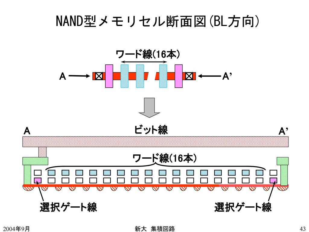 NAND型メモリセル断面図(BL方向) ワード線(16本) A A' A ビット線 A' ワード線(16本) 選択ゲート線 選択ゲート線