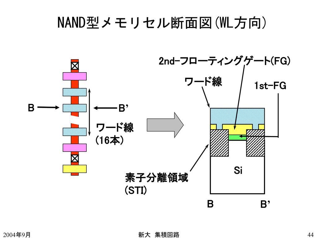 NAND型メモリセル断面図(WL方向) 2nd-フローティングゲート(FG) ワード線 1st-FG B B' ワード線 (16本) Si