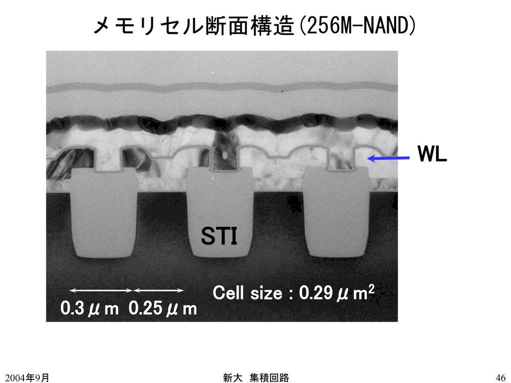 STI メモリセル断面構造(256M-NAND) WL Cell size : 0.29μm2 0.3μm 0.25μm 2004年9月