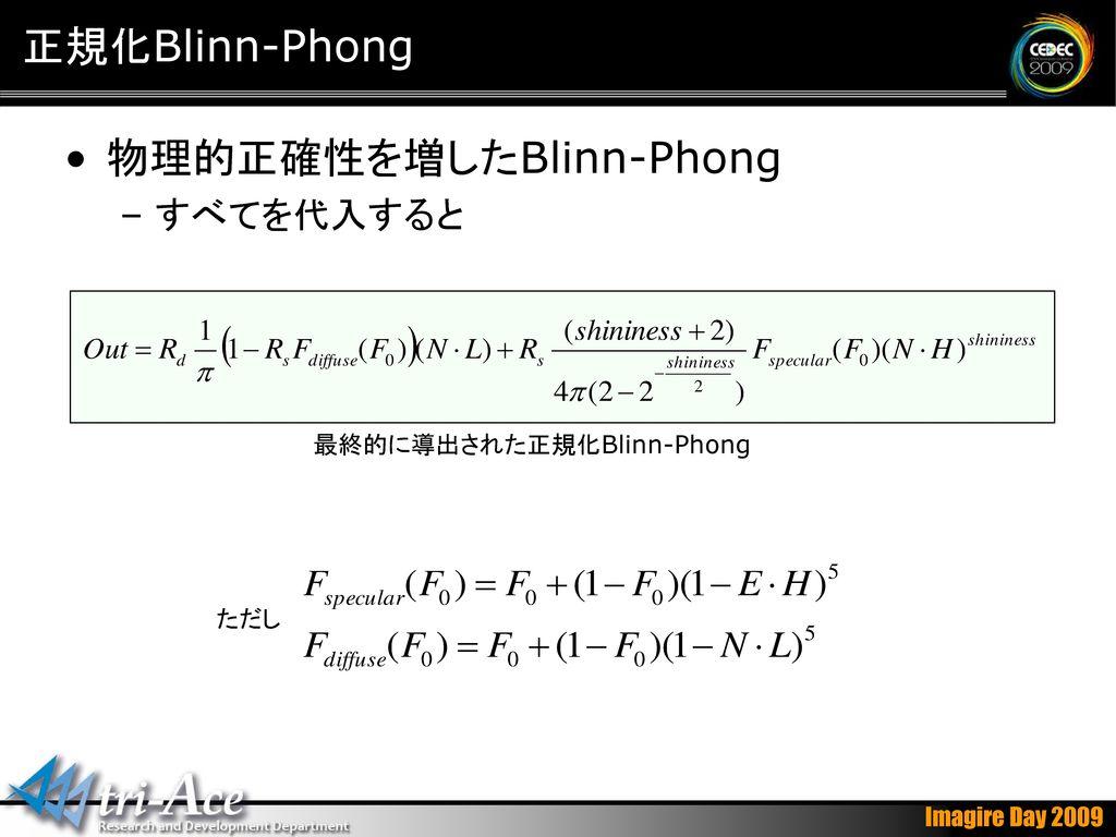 最終的に導出された正規化Blinn-Phong
