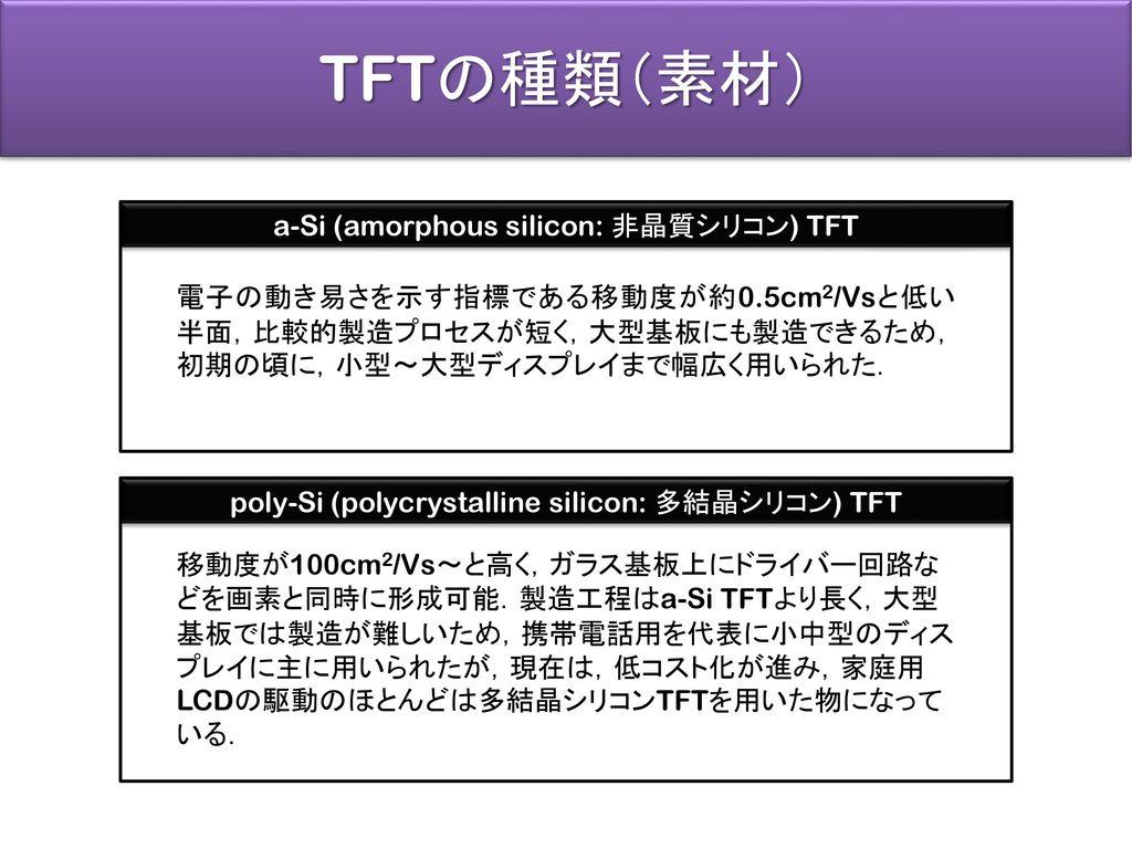 TFTの種類(素材) a-Si (amorphous silicon: 非晶質シリコン) TFT