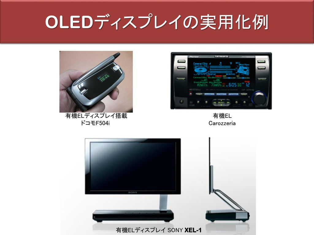 OLEDディスプレイの実用化例 有機ELディスプレイ搭載 ドコモF504i 有機EL Carozzeria