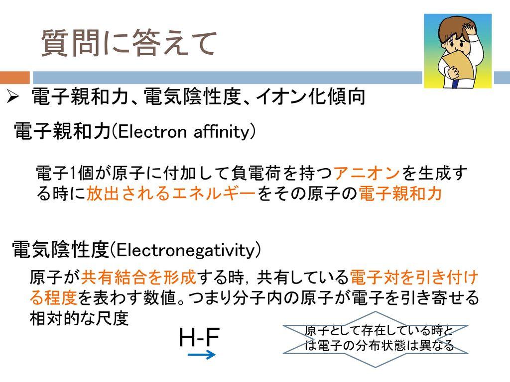 質問に答えて H-F 電子親和力、電気陰性度、イオン化傾向 電子親和力(Electron affinity)