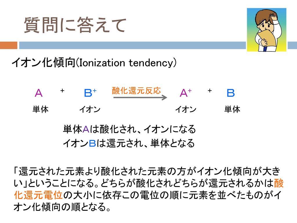 質問に答えて イオン化傾向(Ionization tendency) A B+ A+ B 単体Aは酸化され、イオンになる