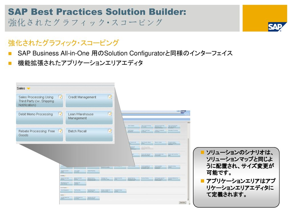SAP Best Practices Solution Builder: 強化されたグラフィック・スコーピング