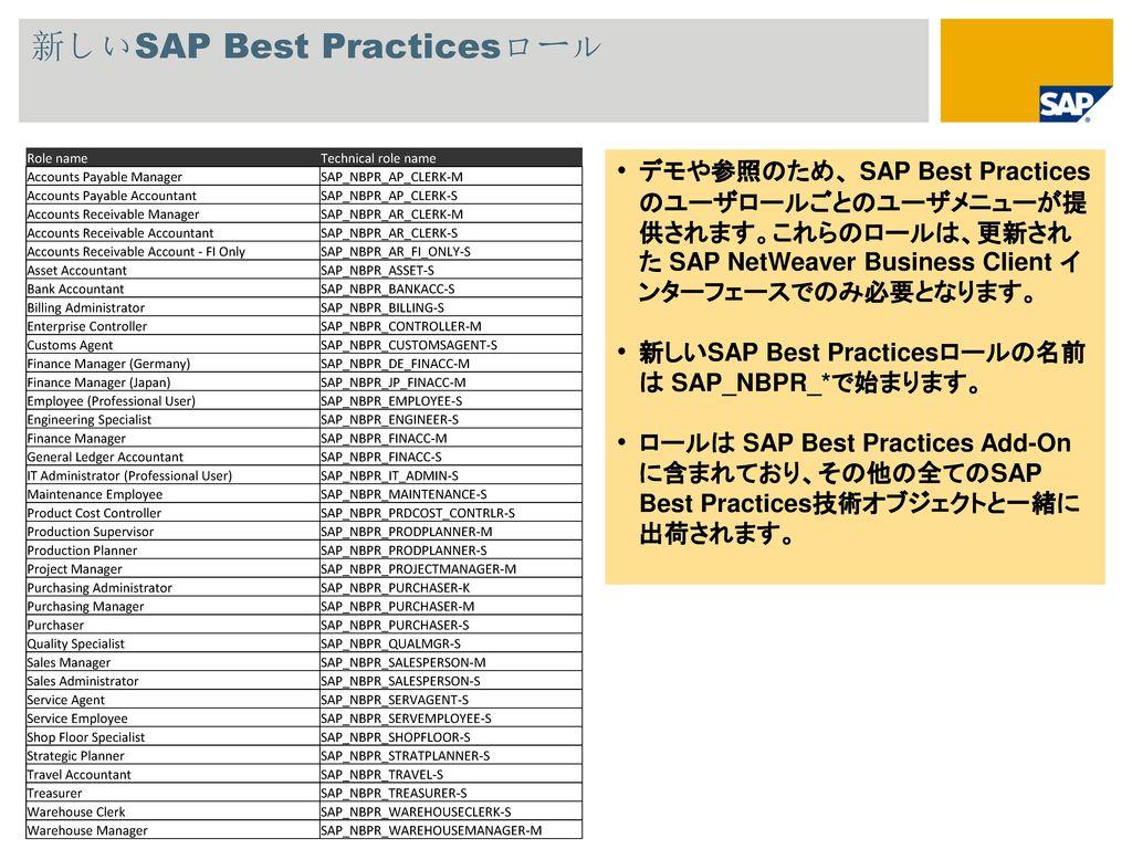 新しいSAP Best Practicesロール