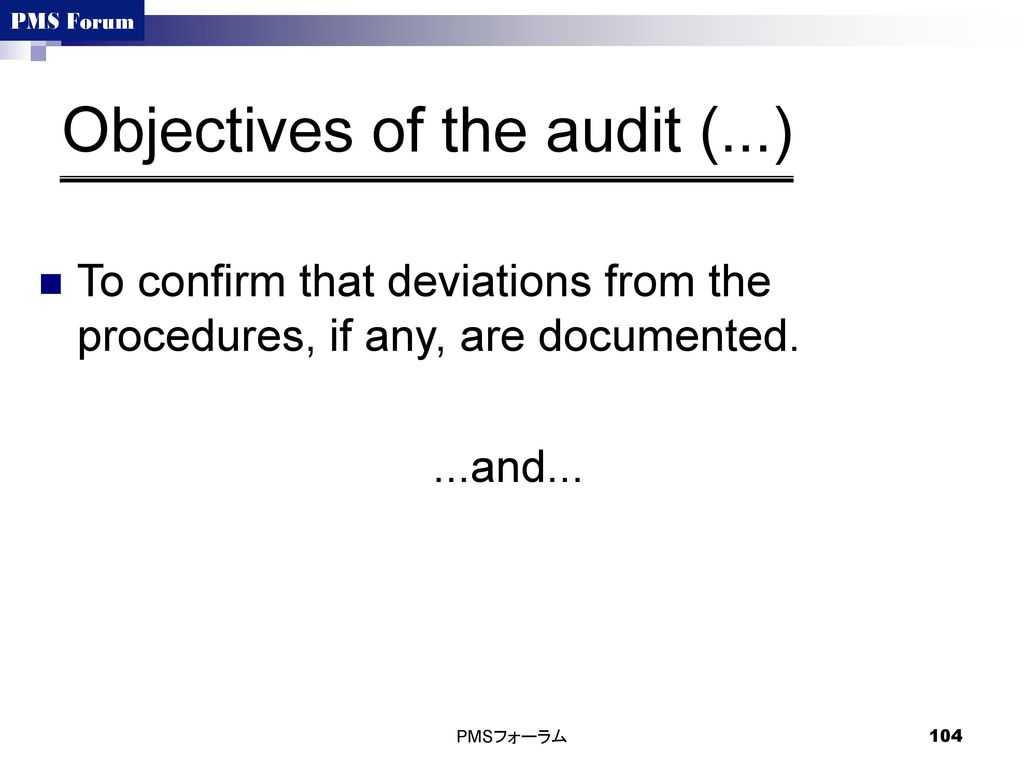 Objectives of the audit (...)