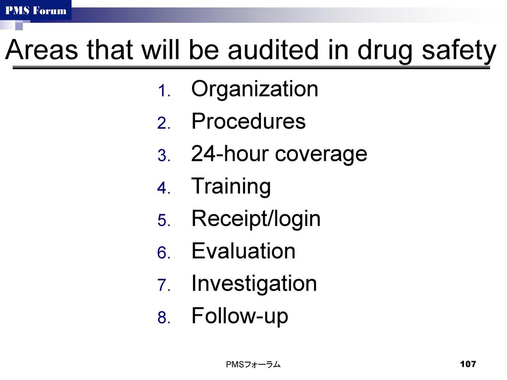 Areas that will be audited in drug safety
