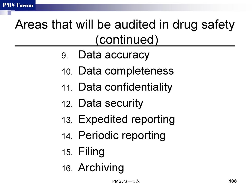 Areas that will be audited in drug safety (continued)
