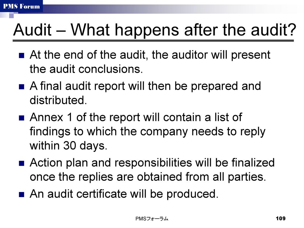 Audit – What happens after the audit
