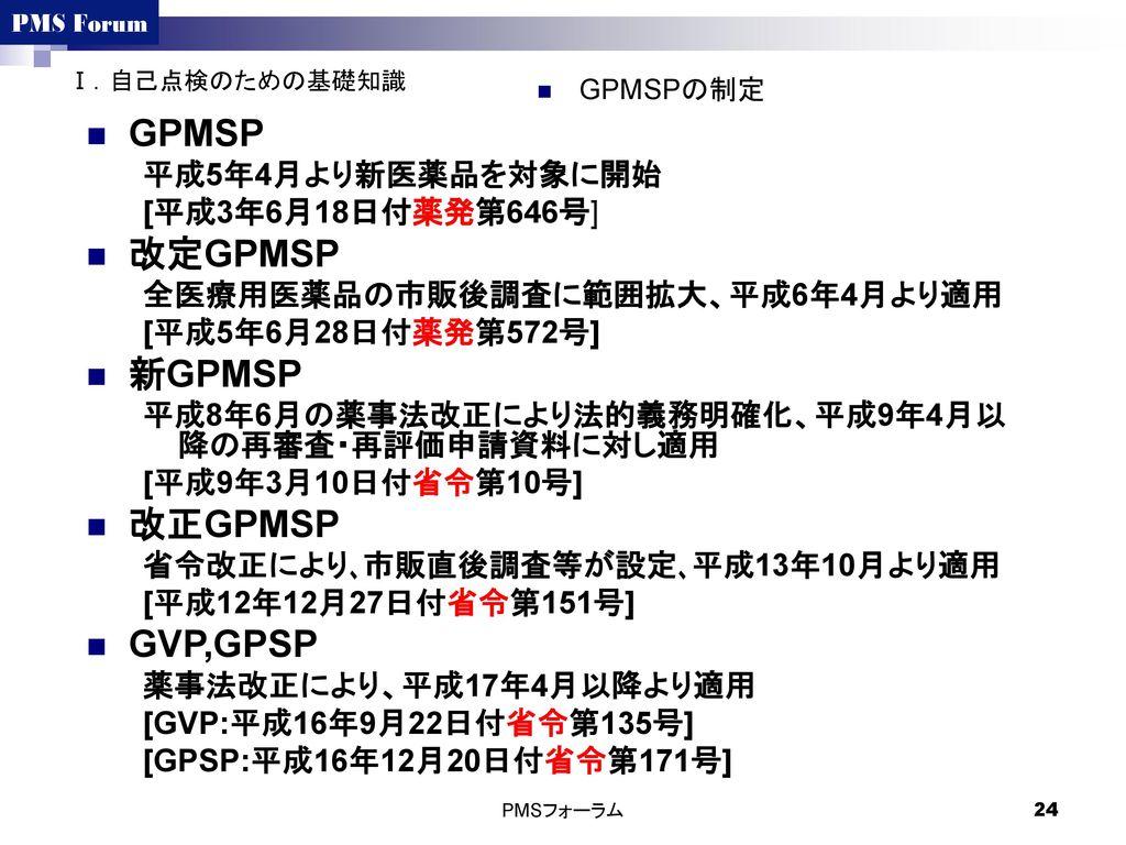 GPMSP 改定GPMSP 新GPMSP 改正GPMSP GVP,GPSP 平成5年4月より新医薬品を対象に開始