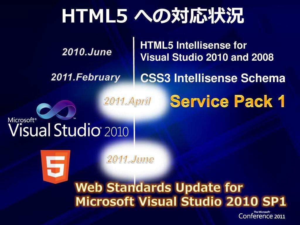 HTML5 への対応状況 Service Pack 1 CSS3 Intellisense Schema