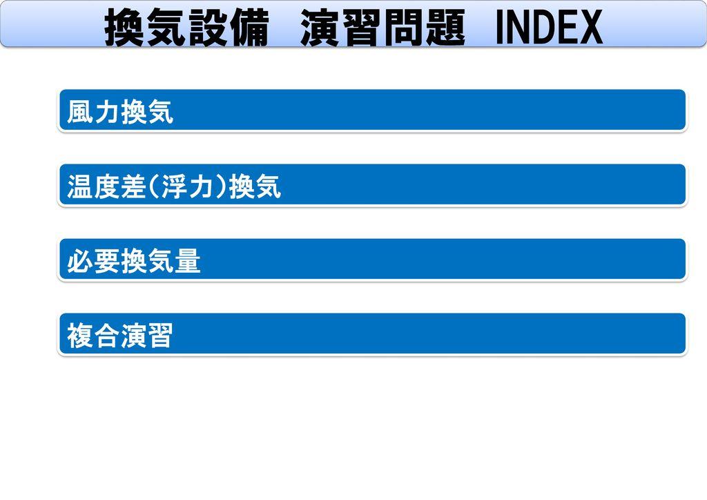 換気設備 演習問題 INDEX 風力換気 温度差(浮力)換気 必要換気量 複合演習