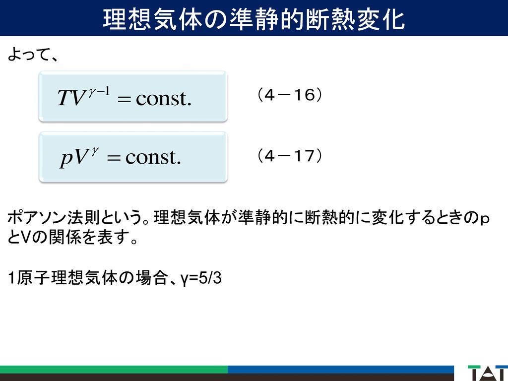 理想気体の準静的断熱変化 よって、 (4-16) (4-17)