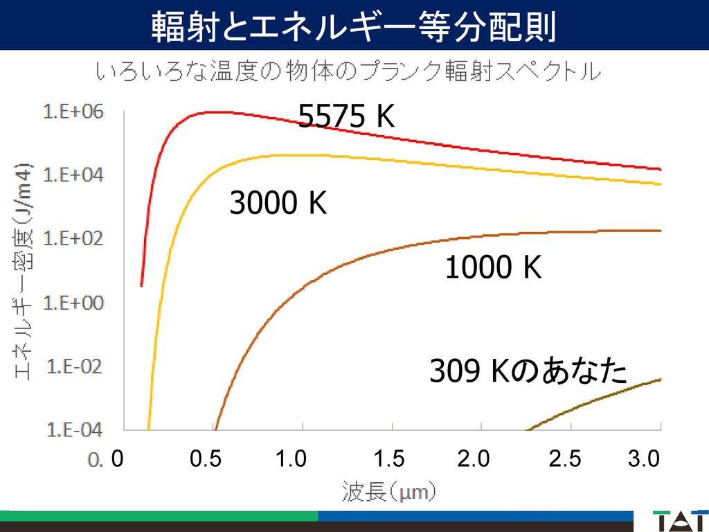 輻射とエネルギー等分配則 5575 K. 3000 K. 1000 K. 309 Kのあなた.