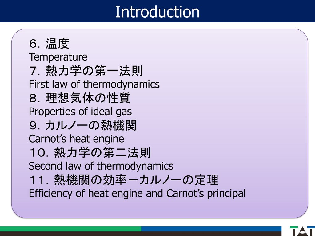 Introduction 6.温度 7.熱力学の第一法則 8.理想気体の性質 9.カルノーの熱機関 10.熱力学の第二法則