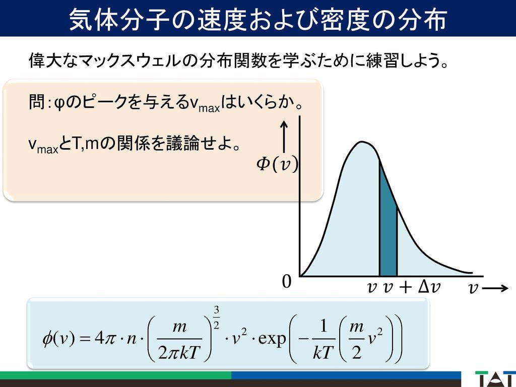 気体分子の速度および密度の分布 偉大なマックスウェルの分布関数を学ぶために練習しよう。 問:φのピークを与えるvmaxはいくらか。
