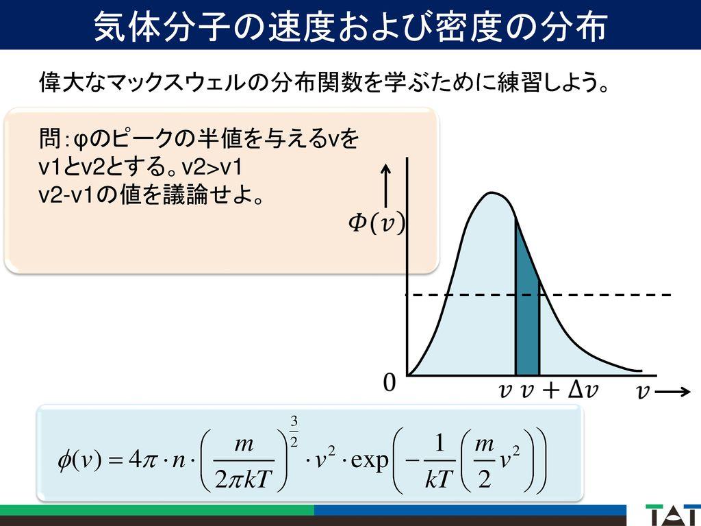 気体分子の速度および密度の分布 偉大なマックスウェルの分布関数を学ぶために練習しよう。 問:φのピークの半値を与えるvを