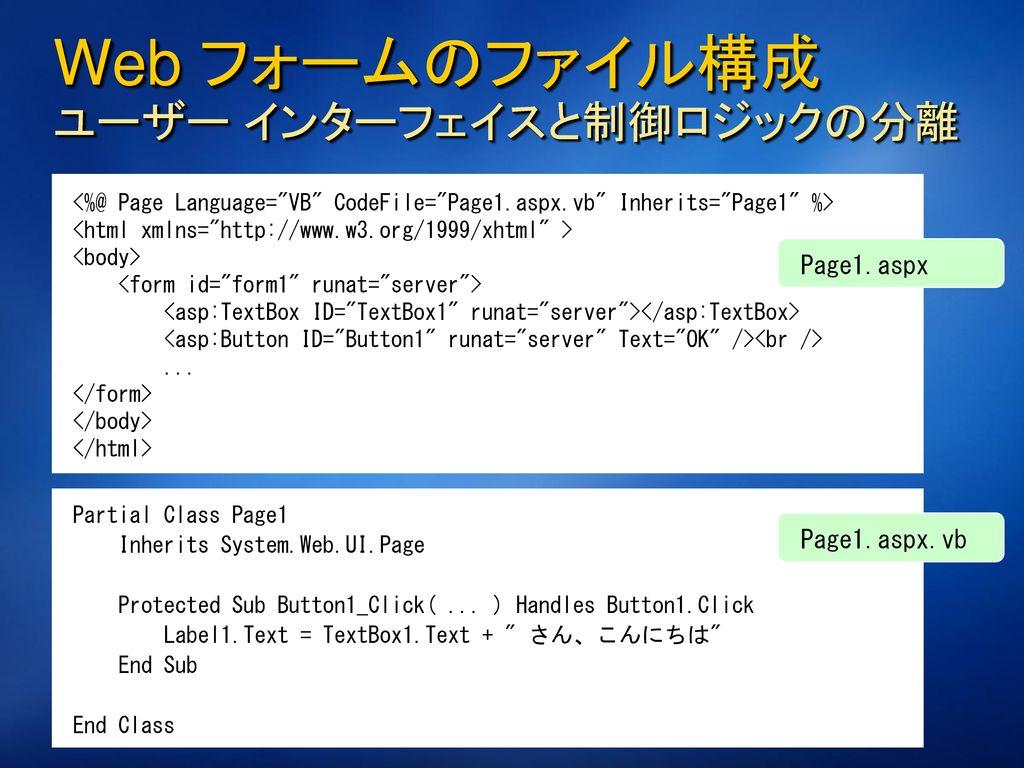 Web フォーム Web アプリケーションのビジュアルな開発