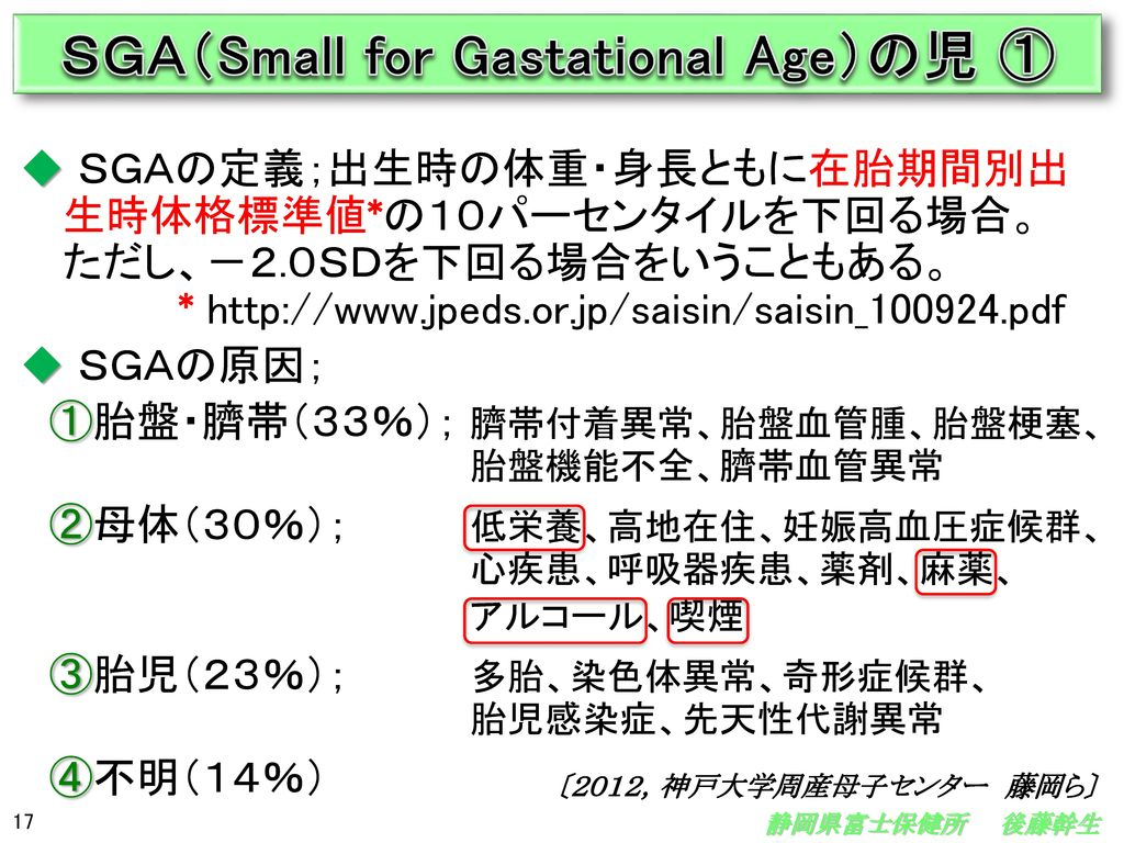 SGA(Small for Gastational Age)の児 ①