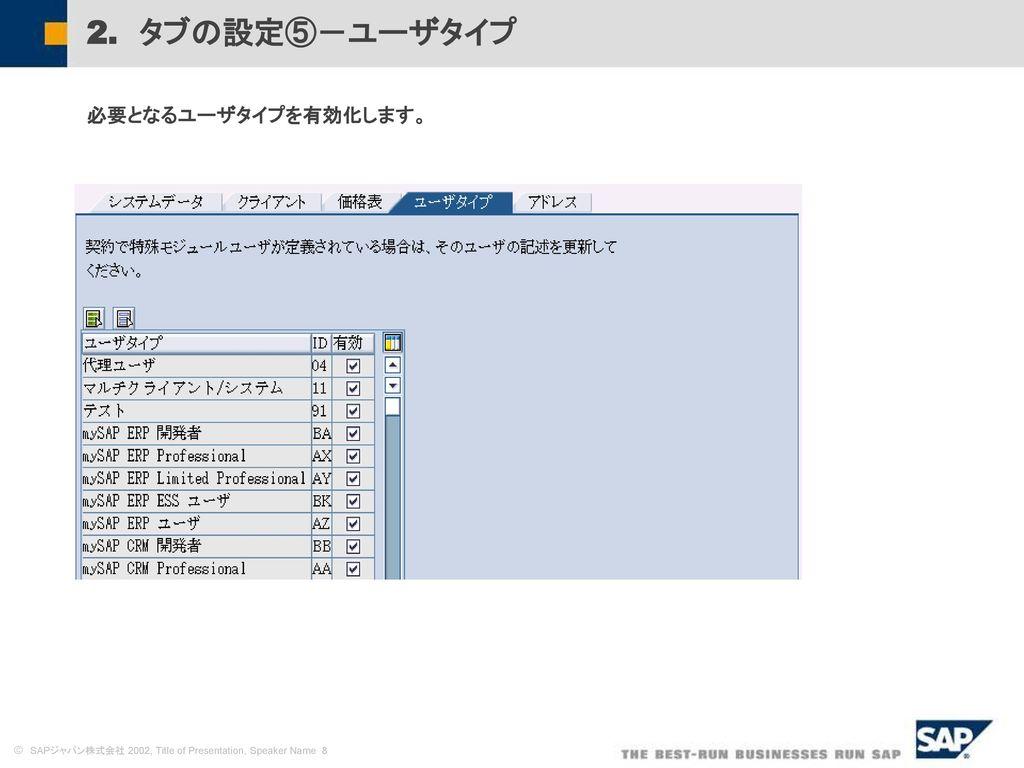 2. タブの設定⑤-ユーザタイプ 必要となるユーザタイプを有効化します。