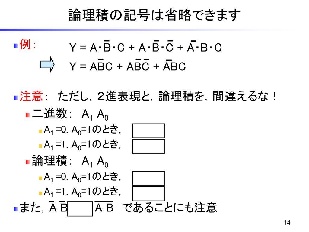 論理積の記号は省略できます 例: Y = A・B・C + A・B・C + A・B・C Y = ABC + ABC + ABC