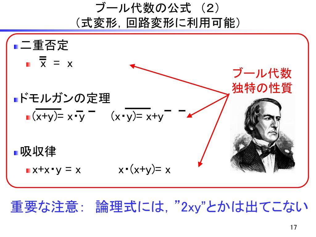 ブール代数の公式 (2) (式変形,回路変形に利用可能)