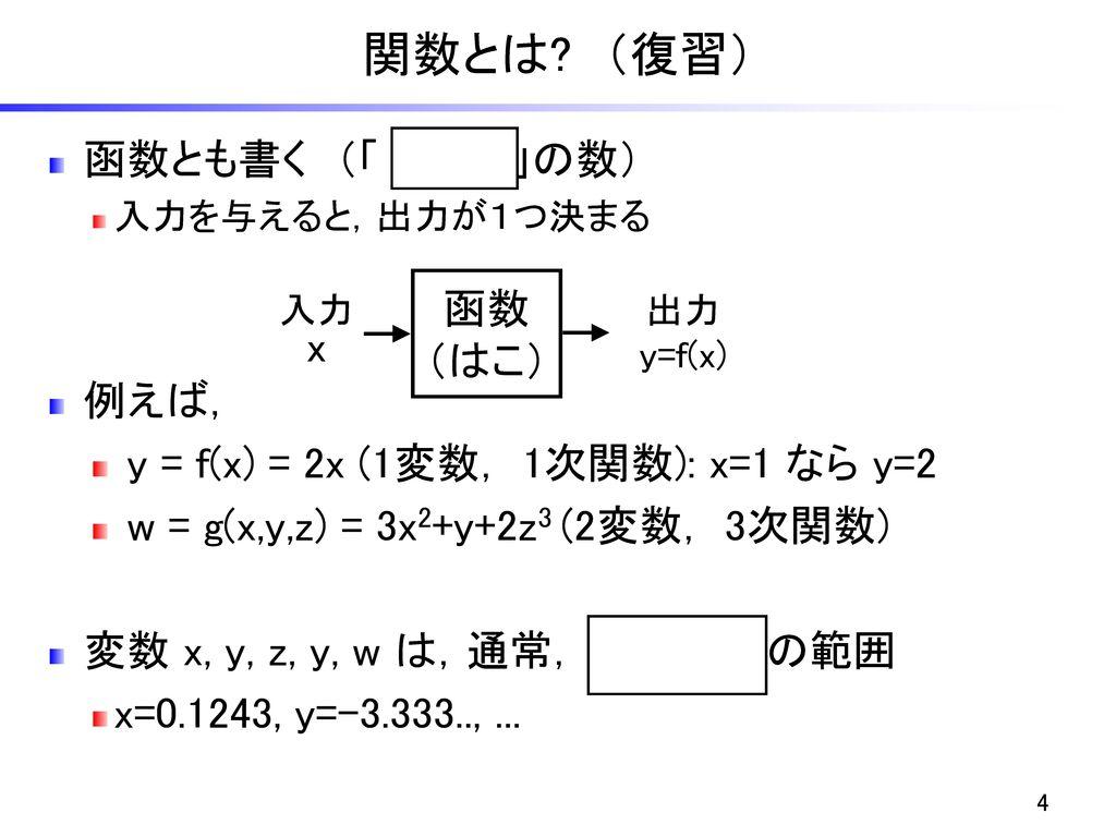 関数とは (復習) 函数とも書く (「 はこ 」の数) 例えば,